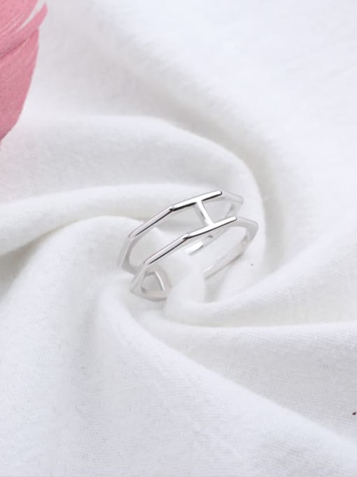 ACE 925 Sterling Silver Geometric Minimalist Stackable Ring 1