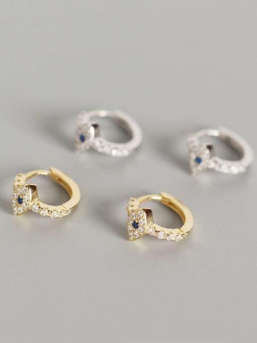 ACE 925 Sterling Silver Rhinestone White Evil Eye Gold Plated Trend Huggie Earring 1