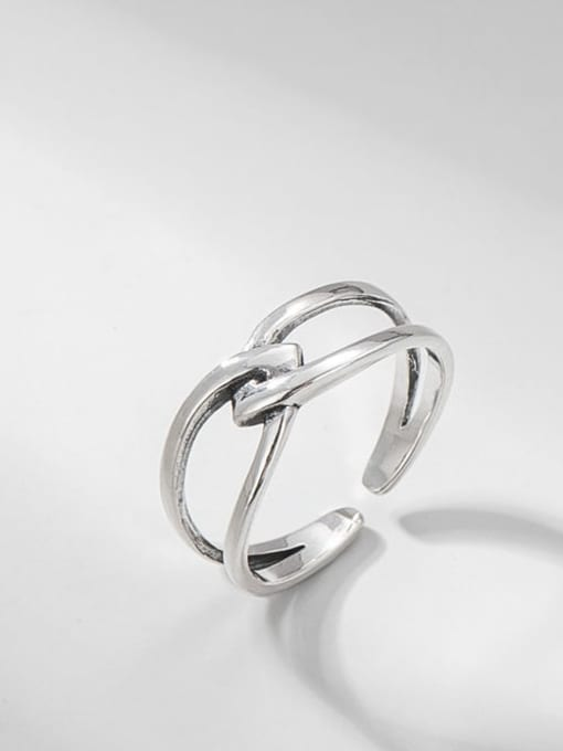Cross knot ring 925 Sterling Silver Geometric Vintage Band Ring