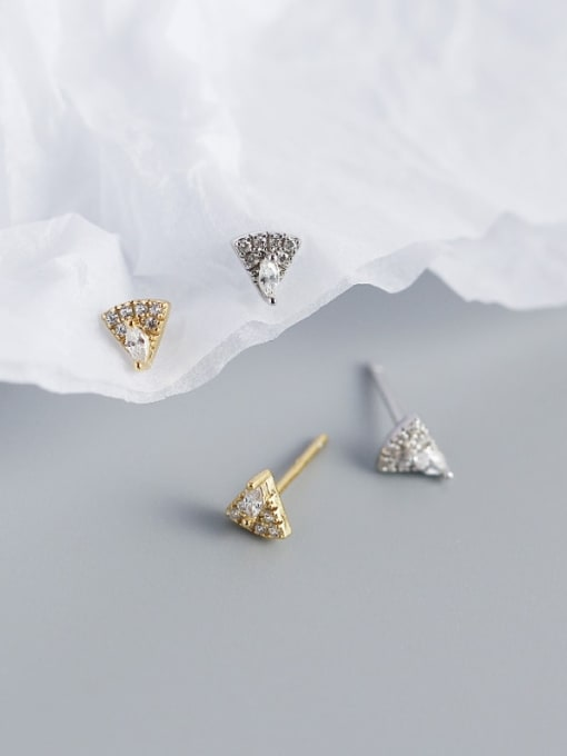 ACE 925 Sterling Silver Cubic Zirconia Triangle Vintage Stud Earring 2
