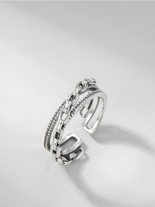 ARTTI 925 Sterling Silver Geometric Vintage Stackable Ring 0