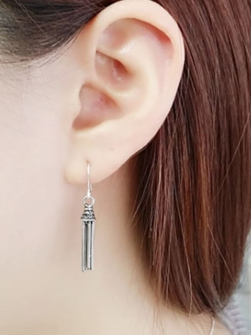 ACE 925 Sterling Silver Tassel Vintage Hook Earring 1