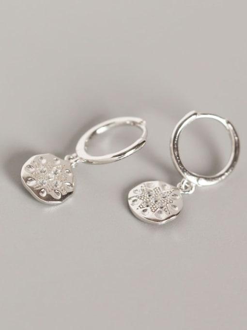 Platinum 925 Sterling Silver Rhinestone White Geometric Dainty Huggie Earring
