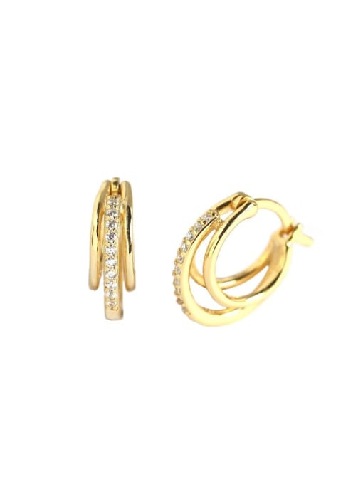 ACE 925 Sterling Silver Cubic Zirconia Geometric Artisan Huggie Earring 3