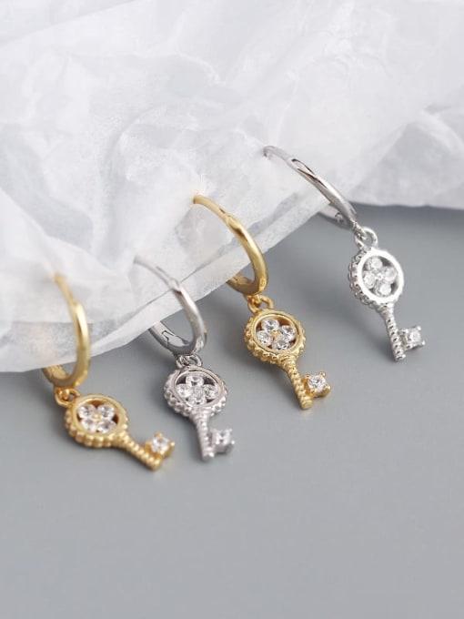 ACE 925 Sterling Silver Cubic Zirconia Key Minimalist Huggie Earring 1