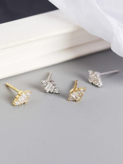 ACE 925 Sterling Silver Cubic Zirconia Geometric Artisan Stud Earring 2