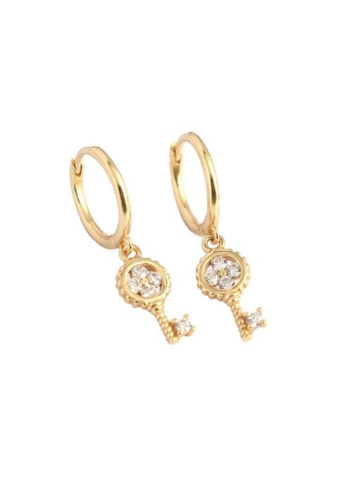 ACE 925 Sterling Silver Cubic Zirconia Key Minimalist Huggie Earring