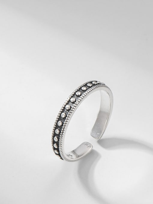 Twist dot ring 925 Sterling Silver Round Vintage Band Ring