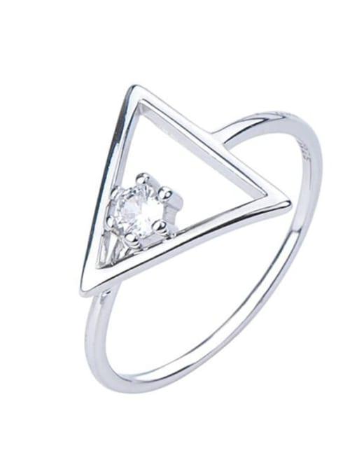 ARTTI 925 Sterling Silver Rhinestone Triangle Minimalist Band Ring 2