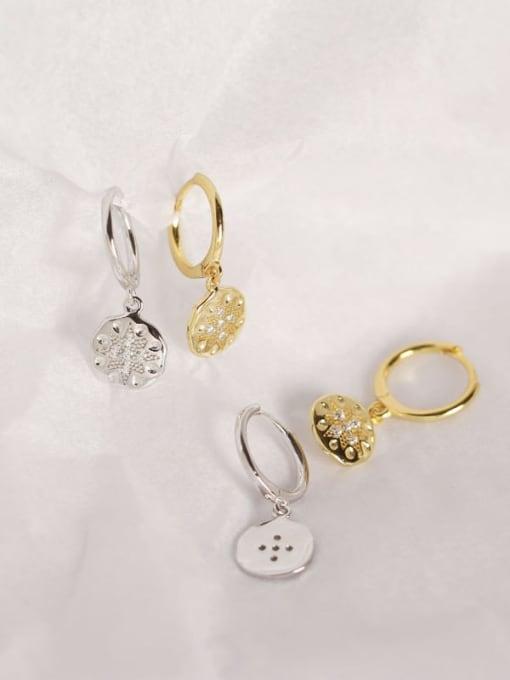 ACE 925 Sterling Silver Rhinestone White Geometric Dainty Huggie Earring 1