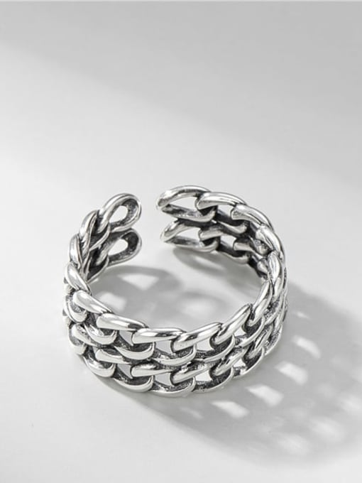 Mesh ring 925 Sterling Silver Geometric Vintage Band Ring
