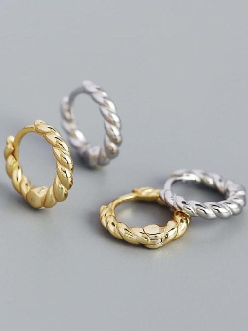 ACEE 925 Sterling Silver Geometric Vintage Huggie Earring 0