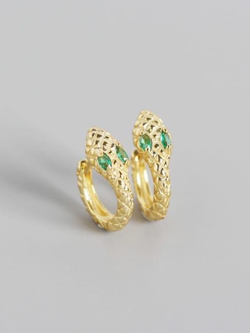 Golden green stone 925 Sterling Silver Cubic Zirconia Snake Vintage Huggie Earring