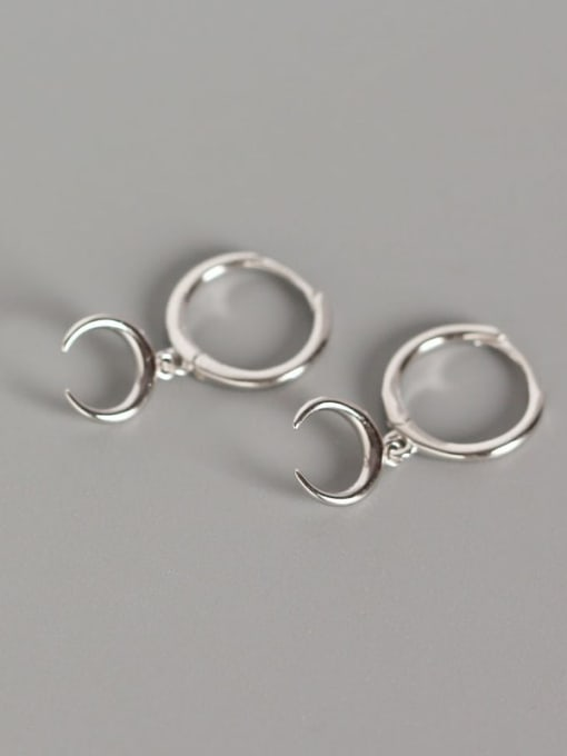 Platinum 925 Sterling Silver Moon Classic Huggie Earring