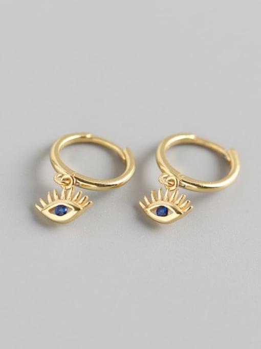 Gold 925 Sterling Silver Cubic Zirconia Eye Trend Huggie Earring