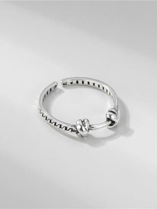 ARTTI 925 Sterling Silver  Vintage Knotted Chain Band Ring 0