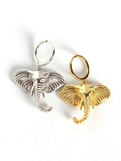 ACE 925 Sterling Silver Elephant Artisan Huggie Earring 4