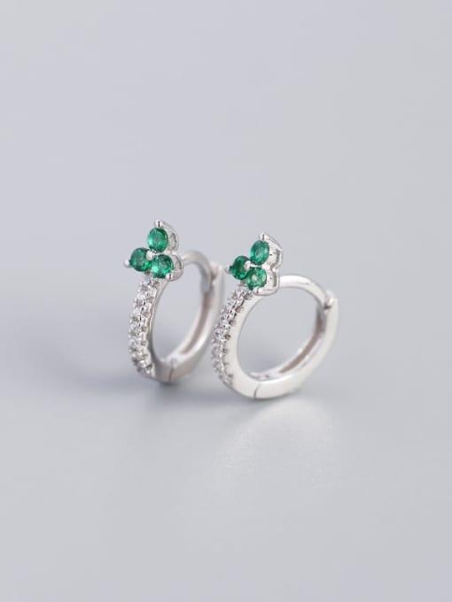 White Gold greenstone 925 Sterling Silver Cubic Zirconia Flower Dainty Huggie Earring