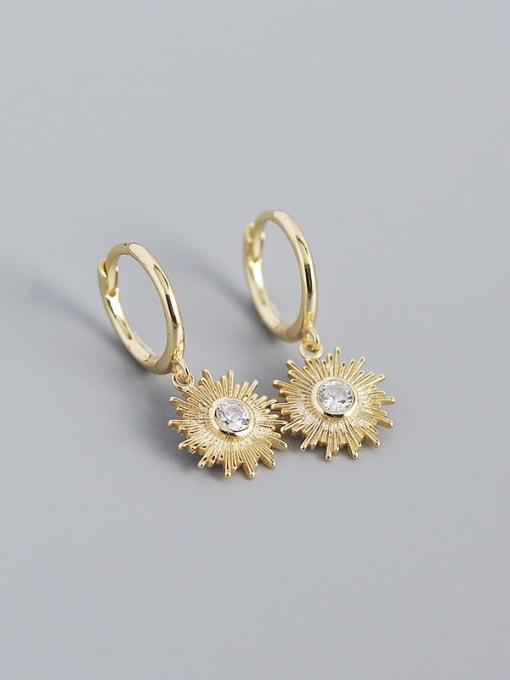 Golden 925 Sterling Silver Rhinestone Geometric Vintage Huggie Earring