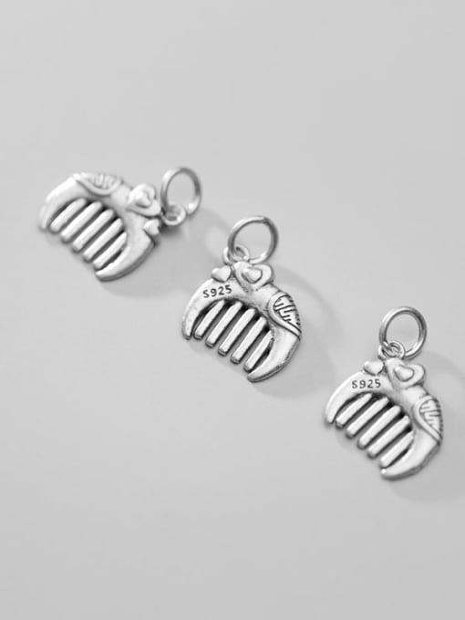FAN 925 Sterling Silver Comb Heart Charm Height : 13.5 mm , Width: 13 mm 2