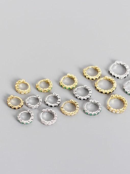 ACE 925 Sterling Silver Cubic Zirconia Geometric Minimalist Huggie Earring