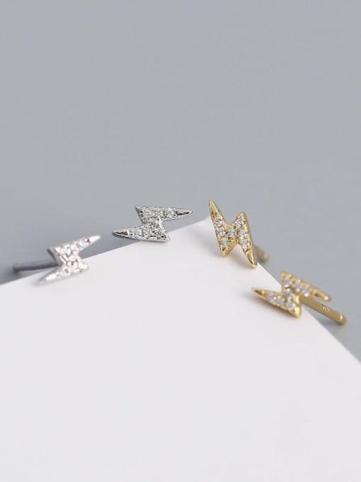 ACE 925 Sterling Silver Cubic Zirconia Irregular Minimalist Stud Earring