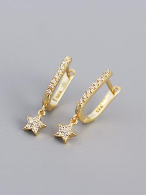 Golden 925 Sterling Silver Cubic Zirconia Star Minimalist Huggie Earring