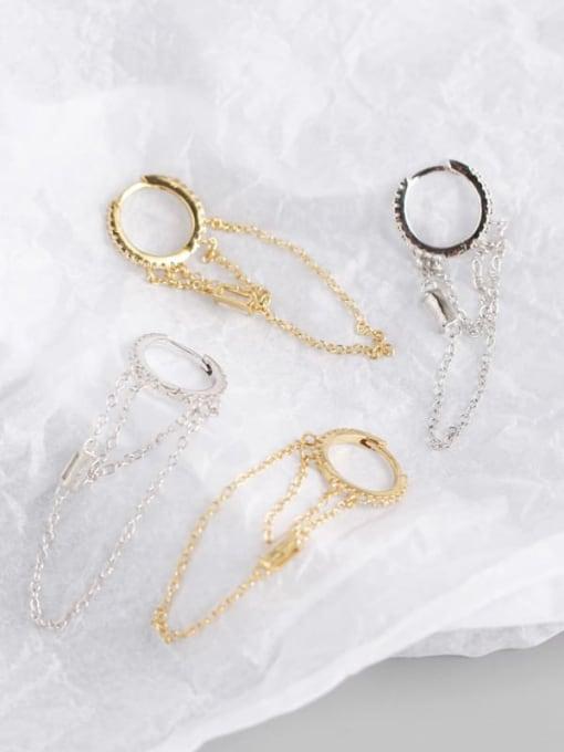 ACE 925 Sterling Silver Tassel Chain Minimalist Huggie Earring 0