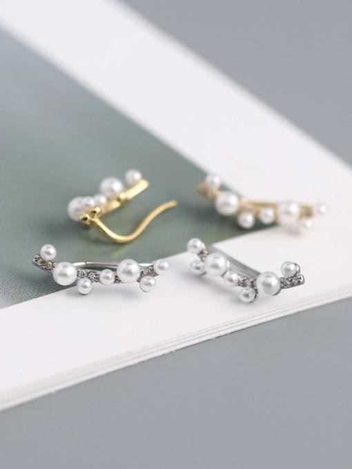 ACE 925 Sterling Silver Imitation Pearl Geometric Minimalist Stud Earring 1