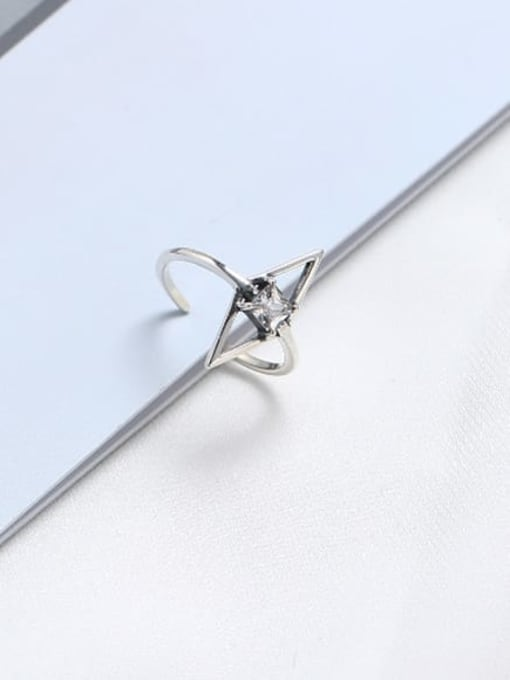 ACE 925 Sterling Silver Cubic Zirconia White Geometric Minimalist Solitaire Ring 0