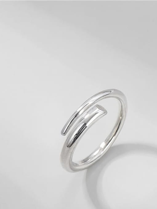 Spring ring 925 Sterling Silver Irregular Vintage Band Ring