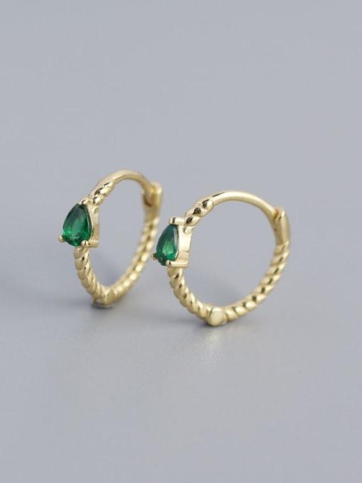 Golden (green stone) 925 Sterling Silver Cubic Zirconia Geometric Trend Huggie Earring