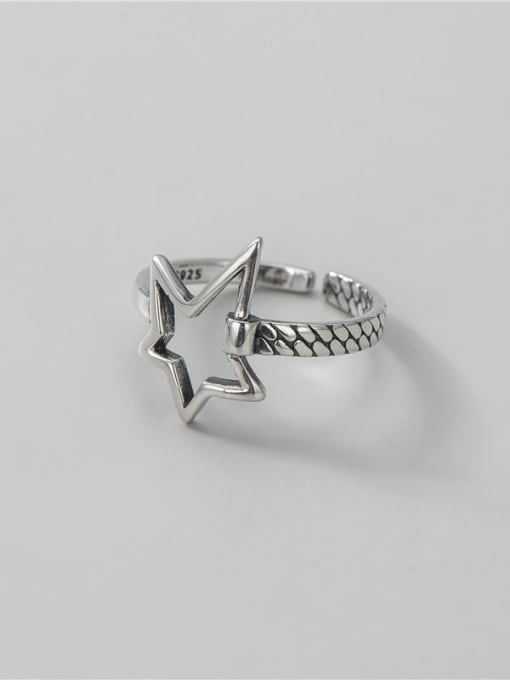 ARTTI 925 Sterling Silver Hollow Five Pointed Star  Vintage Band Ring 0