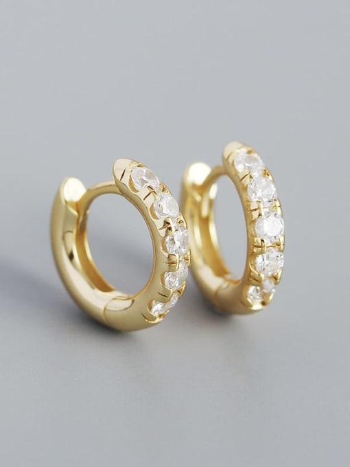Gold (white stone) 925 Sterling Silver Rhinestone Geometric Vintage Huggie Earring
