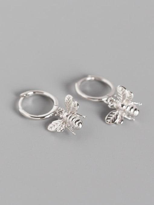 Platinum 925 Sterling Silver Bug Cute Huggie Earring