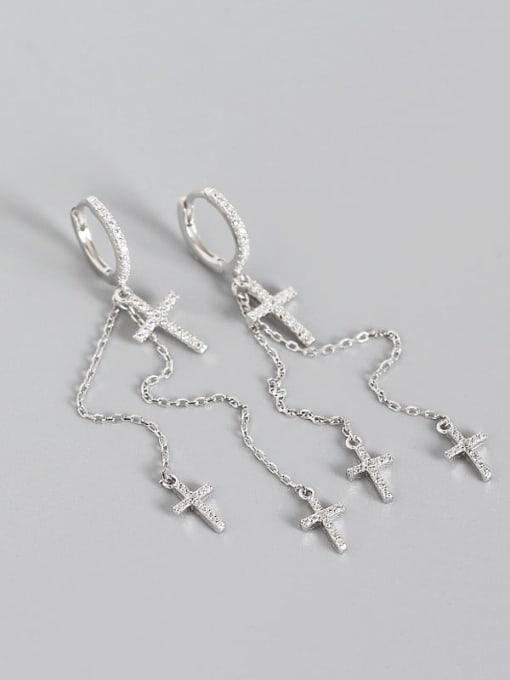 Platinum 925 Sterling Silver Cubic Zirconia Cross Minimalist Threader Earring
