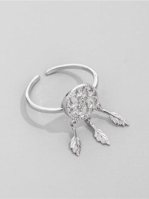 Diamond mesh star ring 925 Sterling Silver Cubic Zirconia Tassel Vintage Band Ring