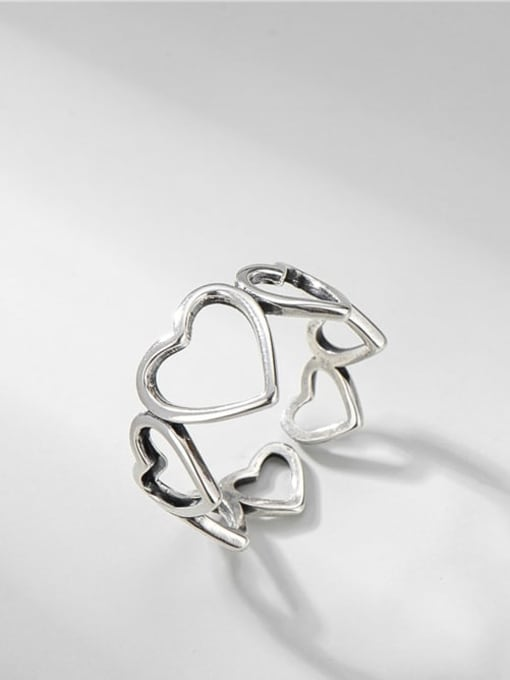 ARTTI 925 Sterling Silver Hollow Heart Vintage Band Ring 0