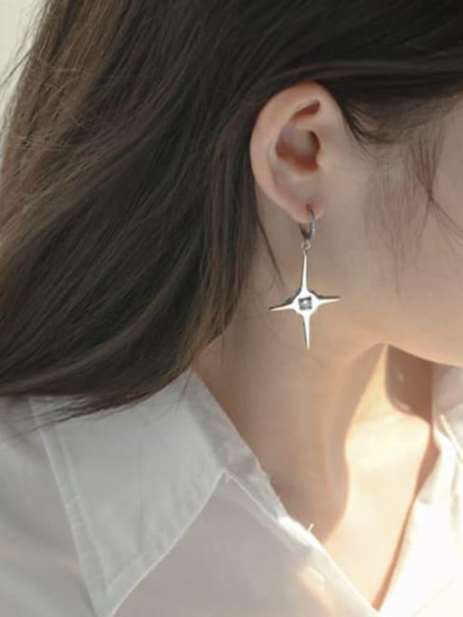 ARTTI 925 Sterling Silver Rhinestone Cross Minimalist Single Earring 1