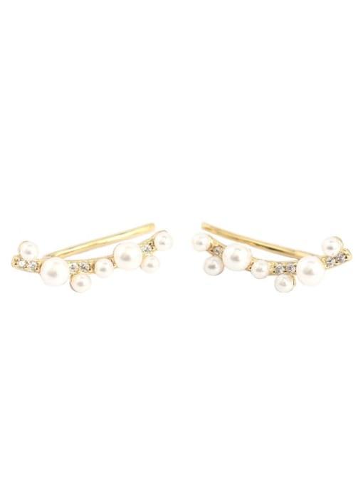 ACE 925 Sterling Silver Imitation Pearl Geometric Minimalist Stud Earring 2