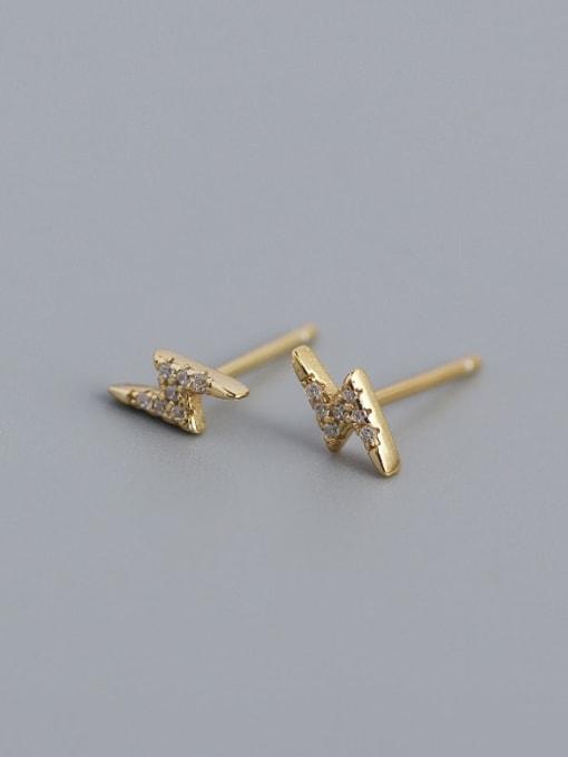 Golden 925 Sterling Silver Cubic Zirconia Irregular Minimalist Stud Earring