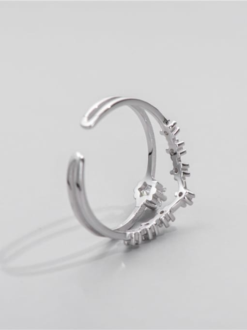 ARTTI 925 Sterling Silver Cubic Zirconia Irregular Minimalist Stackable Ring 2
