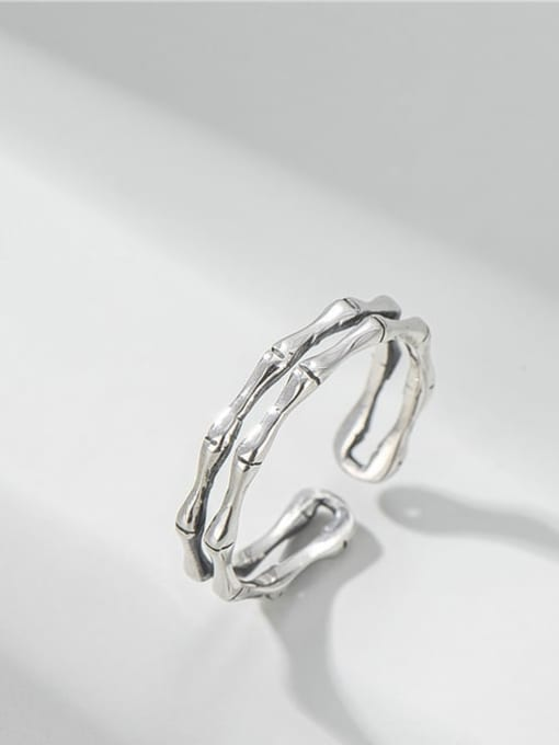 Double bamboo ring 925 Sterling Silver Irregular Vintage Stackable Ring