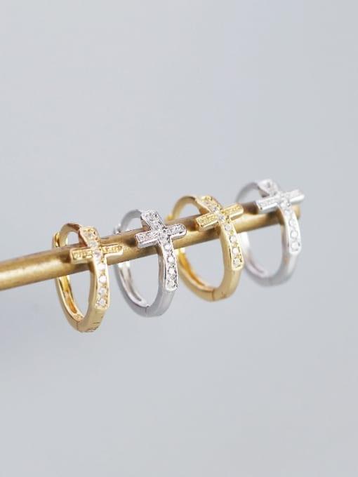 ACE 925 Sterling Silver Cubic Zirconia Cross Minimalist Huggie Earring 1