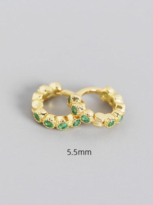 5.5mm golden green stone 925 Sterling Silver Cubic Zirconia Geometric Minimalist Huggie Earring