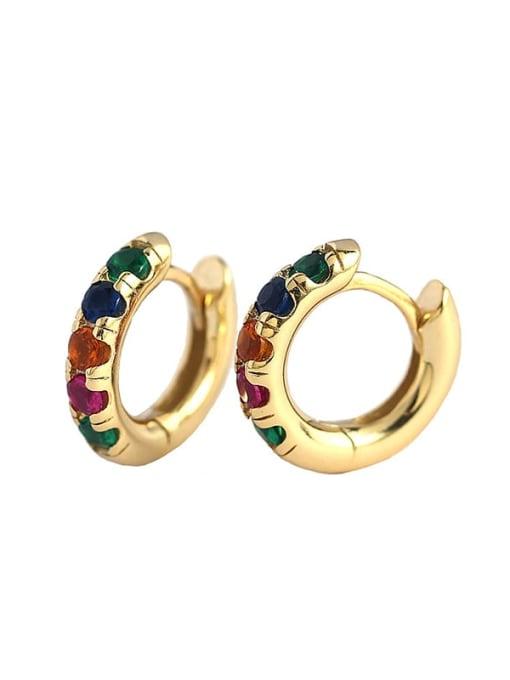 ACEE 925 Sterling Silver Rhinestone Geometric Vintage Huggie Earring 2