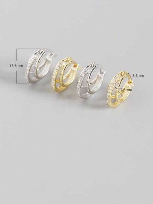ACE 925 Sterling Silver Cubic Zirconia Geometric Artisan Huggie Earring 1