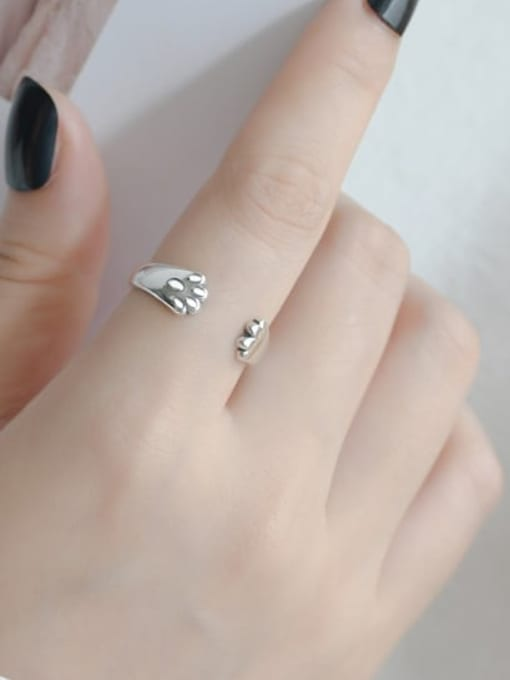 ARTTI 925 Sterling Silver Irregular Vintage Cat Claw  Band Ring 1