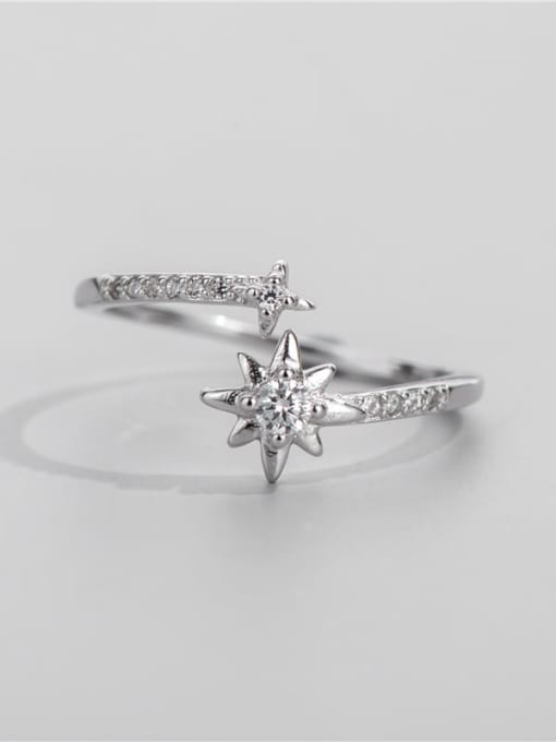 Six pointed star 925 Sterling Silver Cubic Zirconia Star Vintage Band Ring