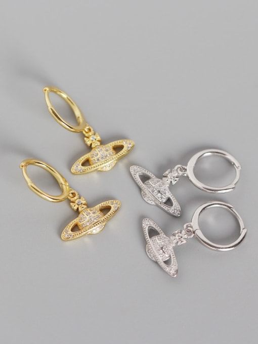 ACE 925 Sterling Silver Rhinestone White Ball Cute Huggie Earring